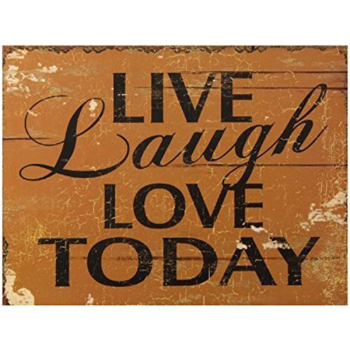 Decorative Wood Wall Hanging Sign Live, Laugh, Love Today Brown Black Home Decor