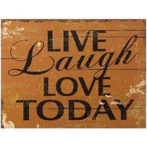 Decorative Wood Wall Hanging Sign Live, Laugh, Love Today Brown Black Ho... - $19.85