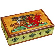 Knights and Dragons Handmade Wood Box Polish Linden Wood Jewelry Box Kni... - €32,20 EUR