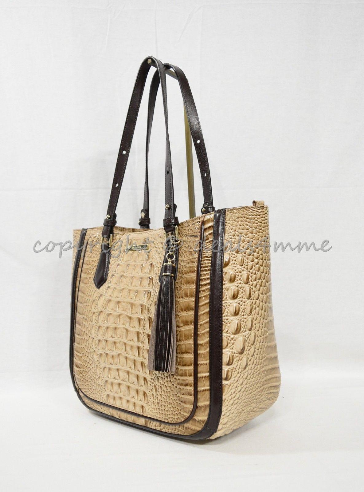 NWT  Brahmin Medium Lena Leather Tote/Shoulder Bag in Travertine Vermeer