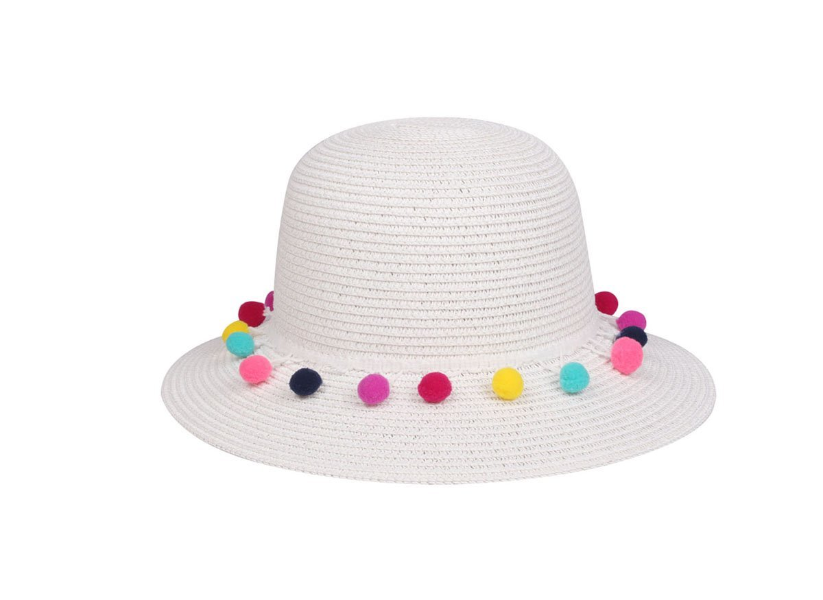 Cloche Hat with Pom Pom Band, White