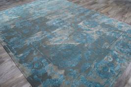 """5x8 (5'6"""" x 7'5"""") Modern Elegant Faded Nourison Wool Silk Blue Gray Area... - $1,099.00"""