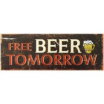 Decorative Wood Wall Hanging Sign Free Beer Tomorrow Brown Red Home Deco... - $14.99