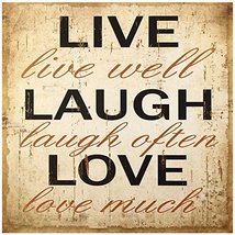 Decorative Wood Wall Hanging Sign Live Laugh Love Beige Brown Home Decor... - $19.58