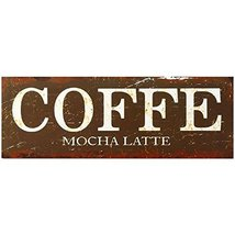 Decorative Wood Wall Hanging Sign Coffee - Mocha Latte White Brown Home ... - $13.18