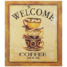 Decorative Wood Wall Hanging Sign Welcome Coffee House Gold Brown Home D... - $19.85