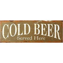 Decorative Wood Wall Hanging Sign Cold Beer Served Here Home Decor - $13.18