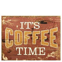 Decorative Wood Wall Hanging Sign It's Coffee Time Brown Home Decoration  - $19.99