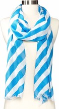 NWT $78 LILLY PULITZER RILEY SCARF RAYON FLUTTER BLUE OFF KILTER STRIPE ... - $39.59