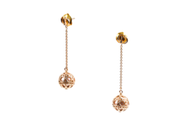 """Authentic Christian Dior Gold Tone & Resin Bead """"Secret Cannage"""" Drop Earrings image 4"""
