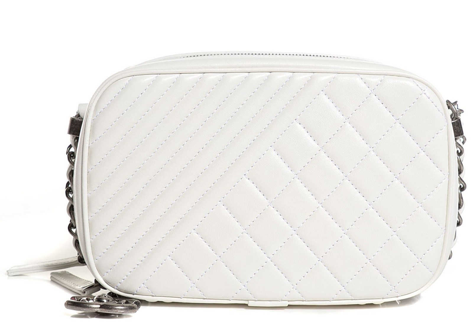 Authentic CHANEL Lambskin Quilted Small Coco Boy Camera Case Bag White