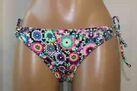 NEW California Waves Multicolor Geo Floral Tie Sides Bikini Bottom S Sm ... - $8.90