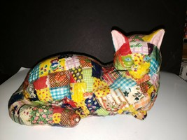 "Vintage 13"" KITTY CAT Decoupage Lacquered Fabric Plaster Statue Doorstop... - $31.68"