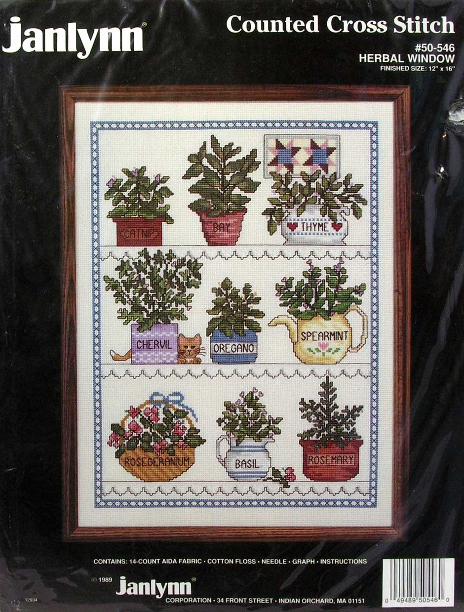 "Janlynn Counted Cross Stitch Kit #50-546 Herbal Window 12""-16"""