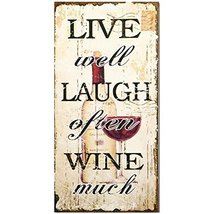 Decorative Wood Wall Hanging Sign Live Well, Laugh Often, Wine Much Home... - $22.68