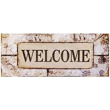 Decorative Wood Wall Hanging Sign Welcome Pastel Home Decoration By meij... - $13.88