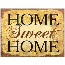 Decorative Wood Wall Hanging Sign Home Sweet Home Brown Gold Home Decora... - $19.85