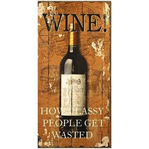 Decorative Wood Wall Hanging Sign Wine! Home Decoration, Black Brown  - $16.99