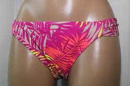 NEW Hula Honey Pink Multi Shirred Tab Sides Swimwear Bikini Bottom L Large - $8.90