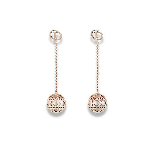 "Authentic Christian Dior Gold Tone & Resin Bead ""Secret Cannage"" Drop Earrings"
