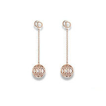 "Authentic Christian Dior Gold Tone & Resin Bead ""Secret Cannage"" Drop Earrings - $429.99"