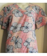 PINK PANTHER FLORAL PRINT VET TECH DENTAL NURSE UNIFORM SCRUB TOP SHIRT ... - $8.99