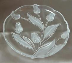 "Mikasa Clear Glass Etched Tulip Design 10"" Serving Dish Plate Tivoli Line - $19.38"
