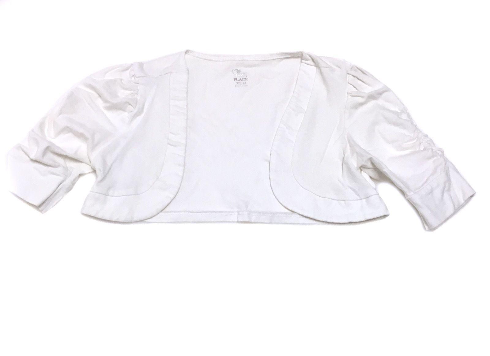 Childrens Place Cardigan White Bolero Shrug Knit Cotton Sweater Top Girls XL 14 - $8.90