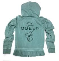 Juciy Couture Queen Sage Green Hoodie Jacket Rhinestones Girls 12 14 16/... - $22.76