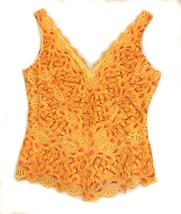 CACHE Orange Yellow Gold Lined LACE Tank Top Me... - $24.74