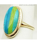 Vintage 1940's RARE Turquoise Striped Inlay 10k Solid Gold Ladies Cockta... - $569.25