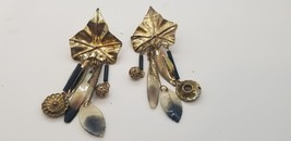 Vintage Fold Tone Leaf Pattern BOHO Multi Charms Dangle Clip On Earrings - $25.14