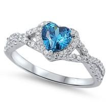 Sterling Silver Heart Shape Swiss Blue CZ Halo Ring - $37.09 CAD