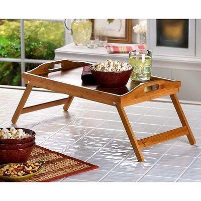 Folding bamboo food tray