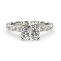 2.67 tcw Cushion Cut Moissanite Diamond Solitaire Engagement Ring 18k White Gold - $1,733.00