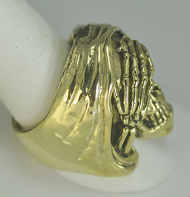Heavy Grim Reaper See no Evil Gold vermeil Silver skull Skeleton ring Any size