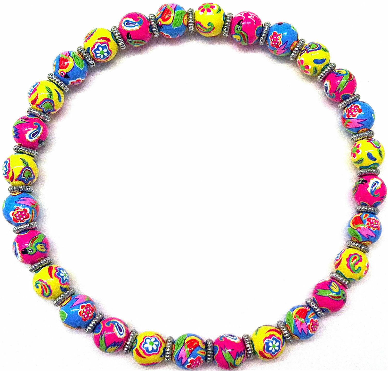 NEW ANGELA MOORE PINK YELLOW BLUE BEADED NECKLACE FLOWERS BIRDS SILVER SPACERS
