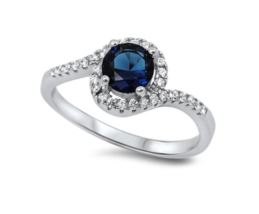 Sterling Silver Blue Sapphire Halo Ring - $29.69