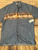 Nwt CLASSIC CAMPIA MODA Hawaiian Shirt L Palm Trees Blue Luau Tiki Party... - $17.98