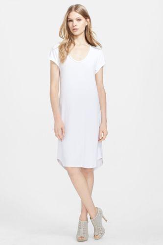 L'AGENCE | Gathered Back Jersey T-Shirt Dress women's sz L - $125 white L6965RSJ