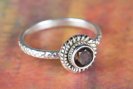 Beautiful Faceted Smoky Quartz Gemstone Silver Ring All size BJR-526-SQC - $12.99+