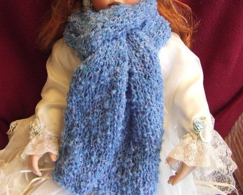 Handknit Ladies Fashion  Hat,Long Scarf Blue Boucle'Fur trim