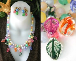 Vintage Pastel Art Glass Bead Necklace Set Napier Earrings - $29.95