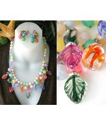 Vintage Pastel Art Glass Bead Necklace Set Napi... - $29.95