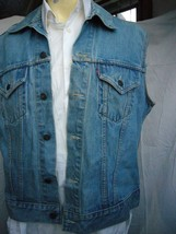 Vintage 1960's Levis Big E Type III 3 Cut Off Trucker Jacket 350 Buttons - $75.02