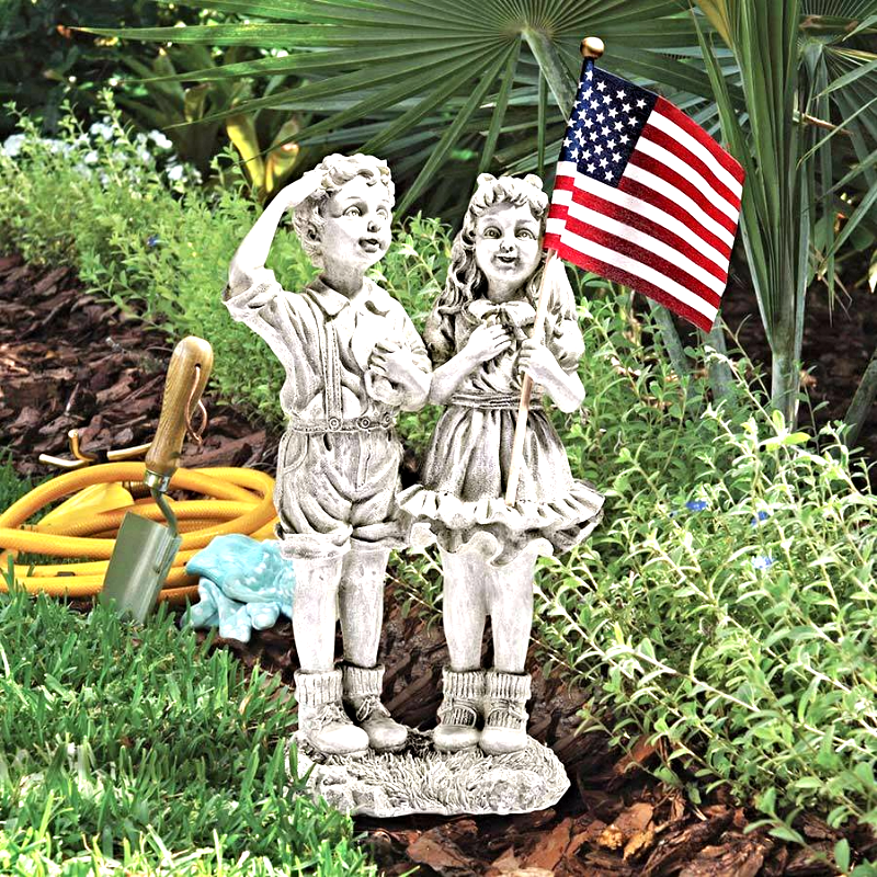 """Patriotic Flag Children"" Statue"