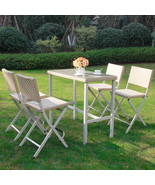 5 PC Outdoor Dining Set Rattan Wicker Patio Folding Chair Table Bistro F... - $189.99