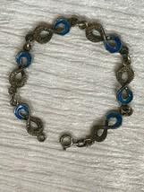 Vintage 800 Silver Marked & Blue Enamel Figure 8 Link Bracelet – signed ... - $27.90