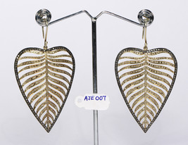 2-tone Big LeafDesign GoldPlated Earrings .925Sterling Silver with Pave ... - $615.00