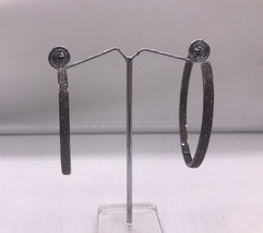Inside Out Big Hoop Earrings 62mm .925Sterling ilver with 3 row of Pave ... - $429.00